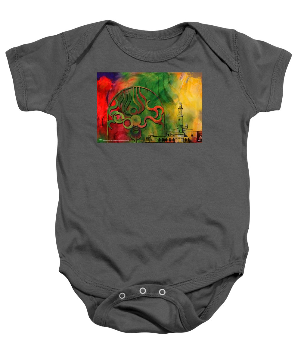 Baby Onesie featuring the painting Jeddah Monument 02 by Catf