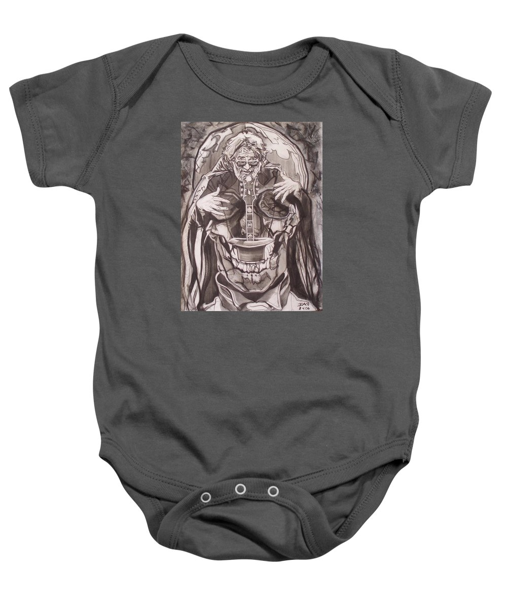 Charcoal; Skull;guitar;music;magic;mystic;wizard;cape;hat;shades;grateful Dead;deadheads Baby Onesie featuring the drawing Jerry Garcia . . Magic Is What We Do - Music Is How We Do It by Sean Connolly