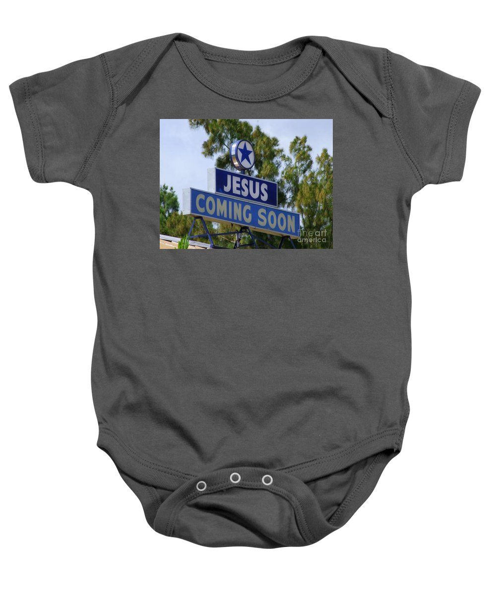 Jesus Baby Onesie featuring the photograph Jesus Coming Soon by Mary Deal