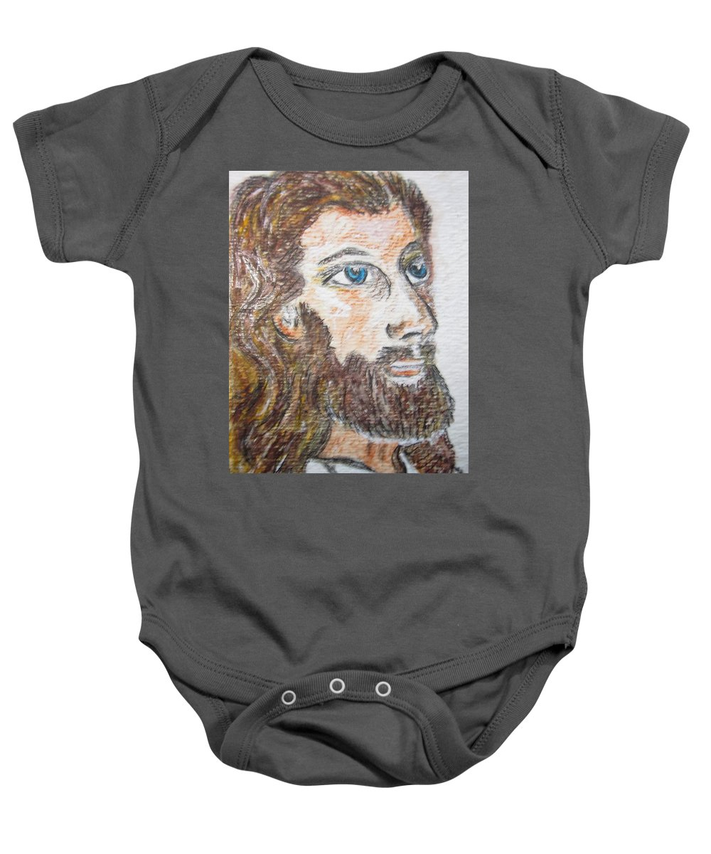Jesus Baby Onesie featuring the painting Jesus Our Saviour by Kathy Marrs Chandler