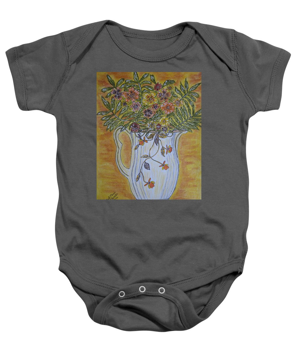 Jewel Tea Baby Onesie featuring the painting Jewel Tea Pitcher With Marigolds by Kathy Marrs Chandler