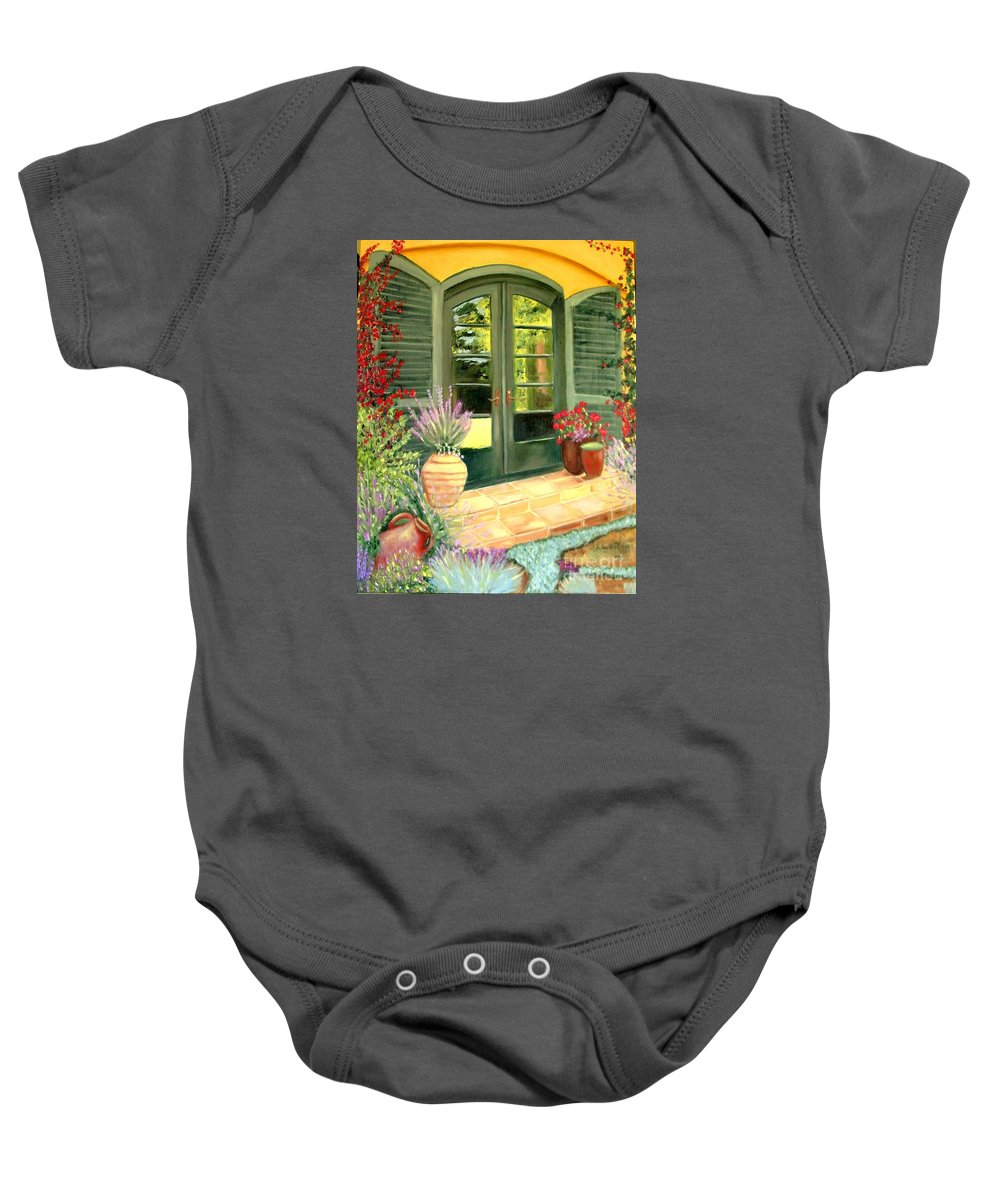 Shutters Baby Onesie featuring the painting Jill's Patio by Laurie Morgan