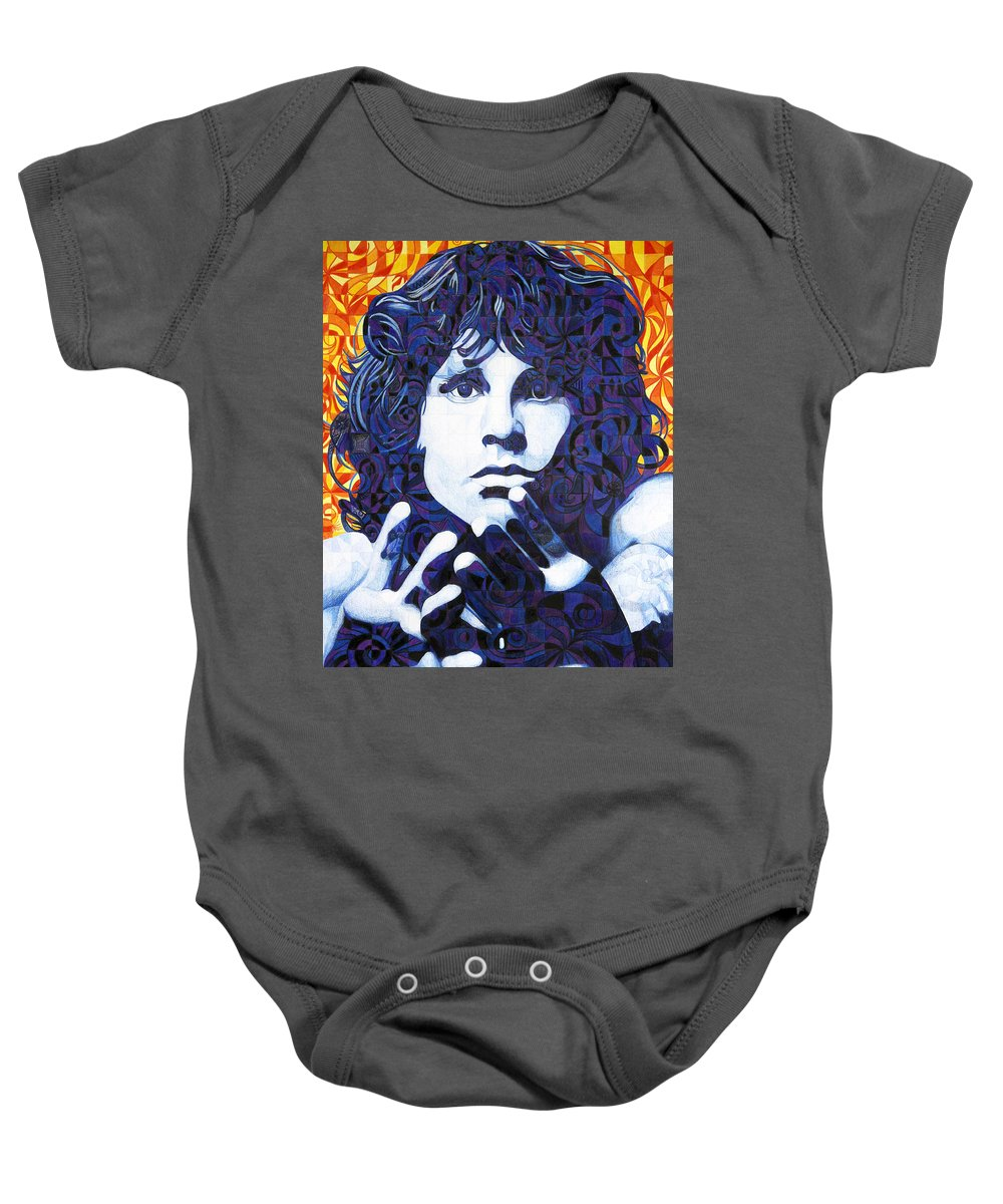 Jim Morrison Baby Onesie featuring the drawing Jim Morrison Chuck Close Style by Joshua Morton
