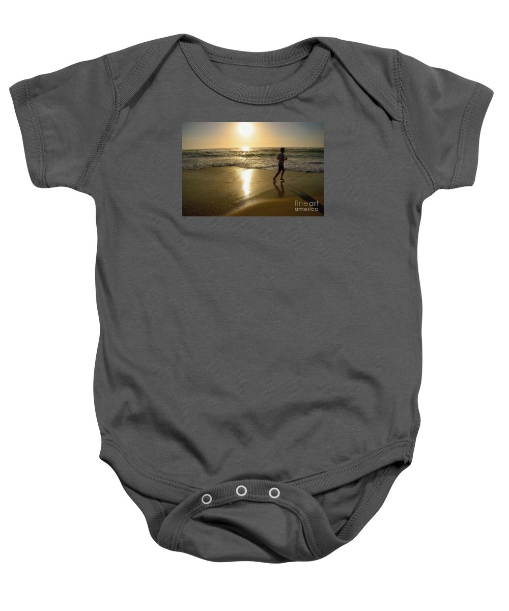 Photography Baby Onesie featuring the photograph Jogging At Sunrise By Kaye Menner by Kaye Menner