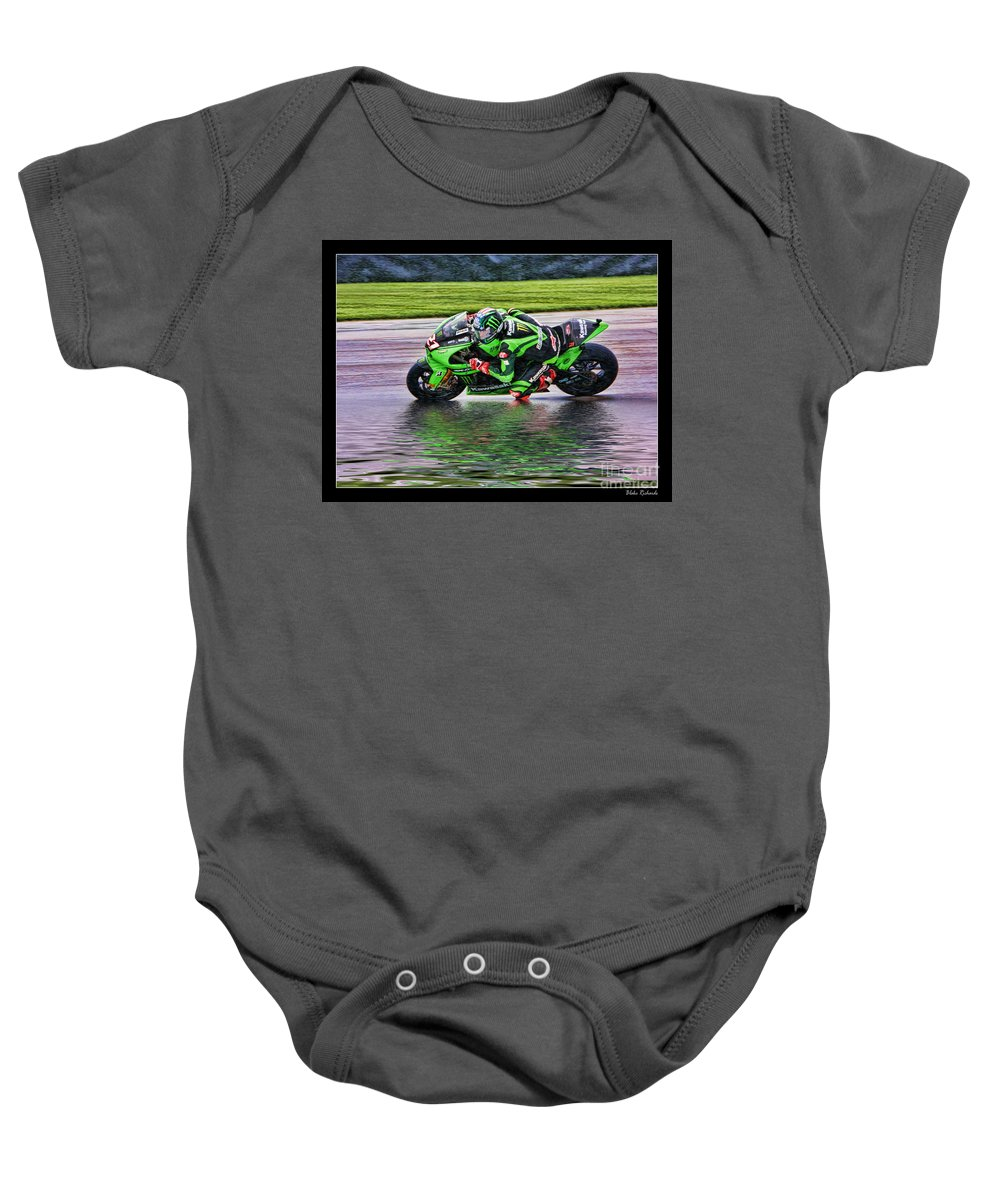 John Hopkins Baby Onesie featuring the photograph John Hopkins 2005 Motogp Red Bull Suzuki by Blake Richards