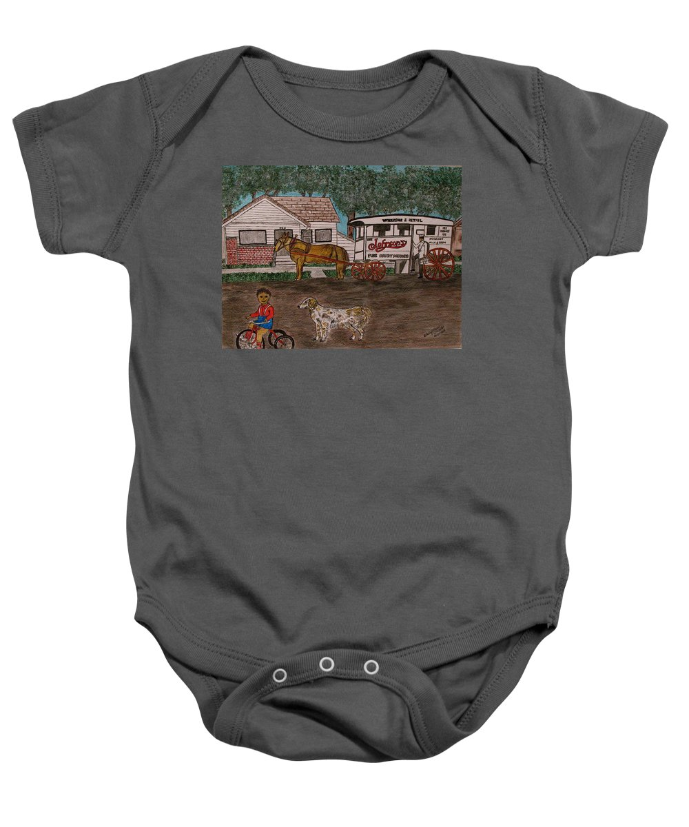 Johnson Creamery Baby Onesie featuring the painting Johnsons Milk Wagon Pulled By A Horse by Kathy Marrs Chandler