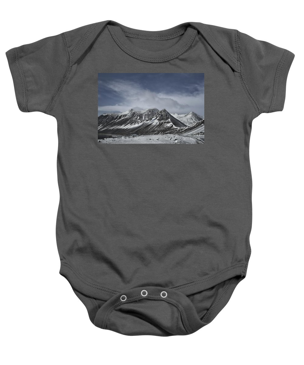 Vestrahorn Baby Onesie featuring the photograph Journey Into The Realms Above by Evelina Kremsdorf