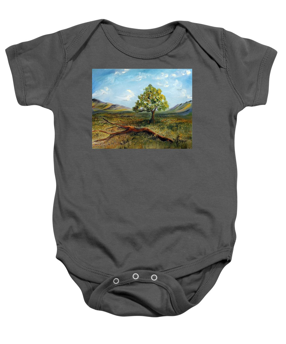 Landscape Baby Onesie featuring the painting Jubilant Fields by Meaghan Troup