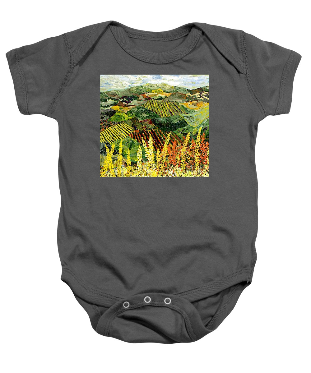 Landscape Baby Onesie featuring the painting Just A Little Valley by Allan P Friedlander