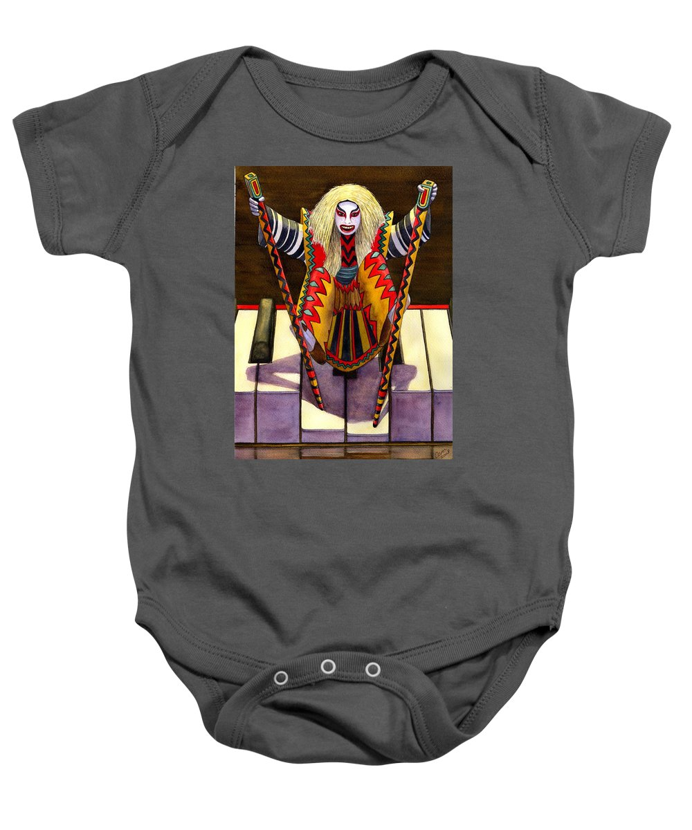 Kabuki Baby Onesie featuring the painting Kabuki Chopsticks 1 by Catherine G McElroy