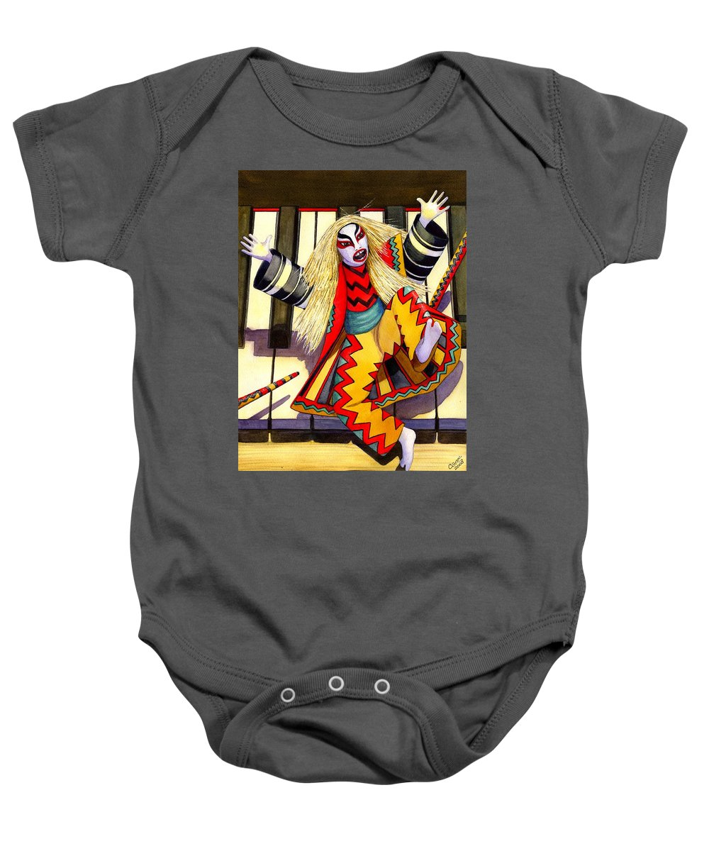 Kabuki Baby Onesie featuring the painting Kabuki Chopsticks 3 by Catherine G McElroy