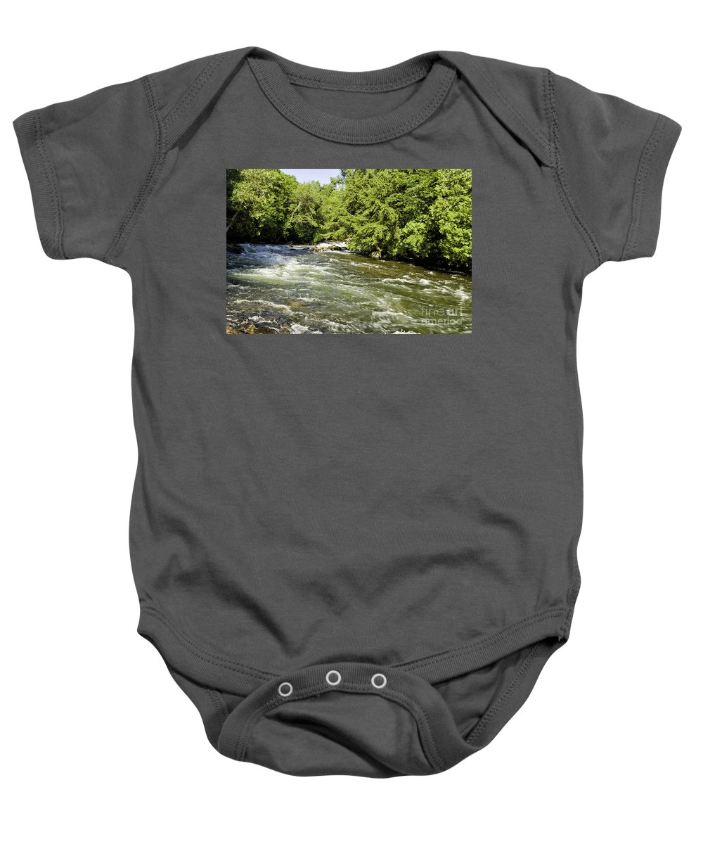 Gull Baby Onesie featuring the photograph Kayaking On Gull River by Les Palenik