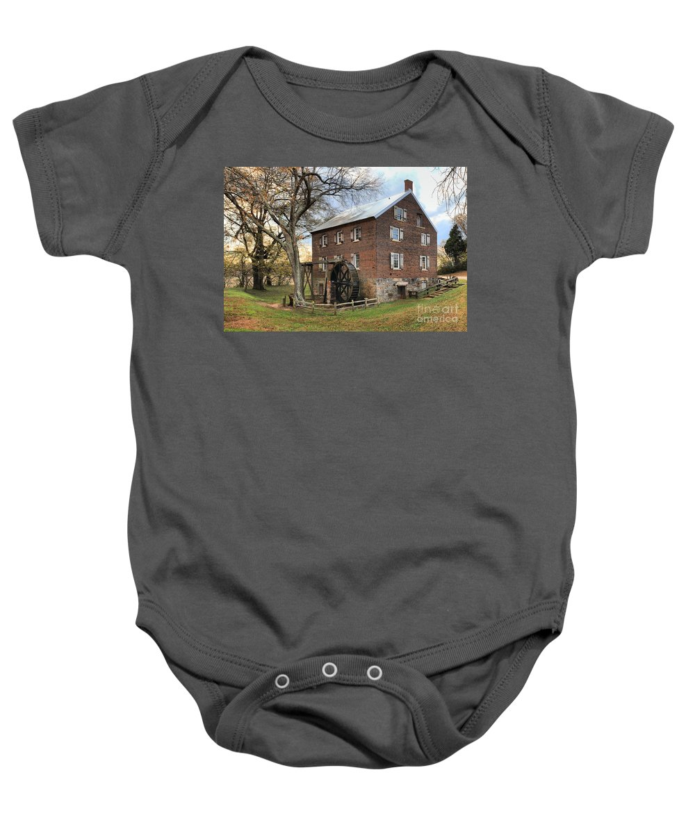Kerr Mill Baby Onesie featuring the photograph Kerr Grist Mill by Adam Jewell