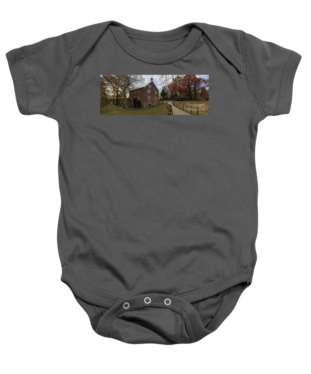 Kerr Mill Baby Onesie featuring the photograph Kerr Grist Mill Fall Panorama by Adam Jewell