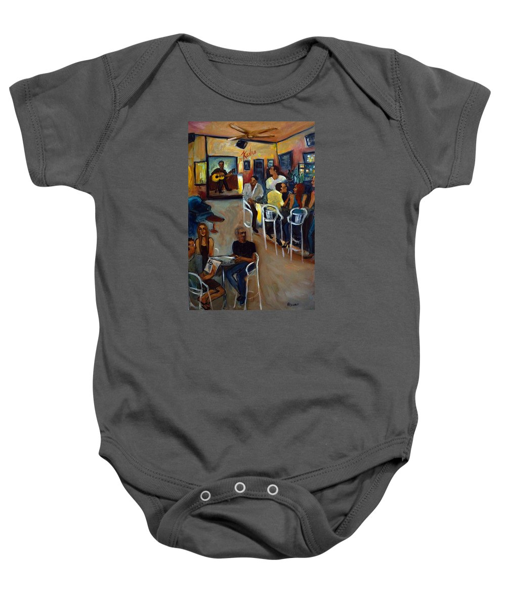 Art Bar Baby Onesie featuring the painting Kevro's Art Bar by Valerie Vescovi