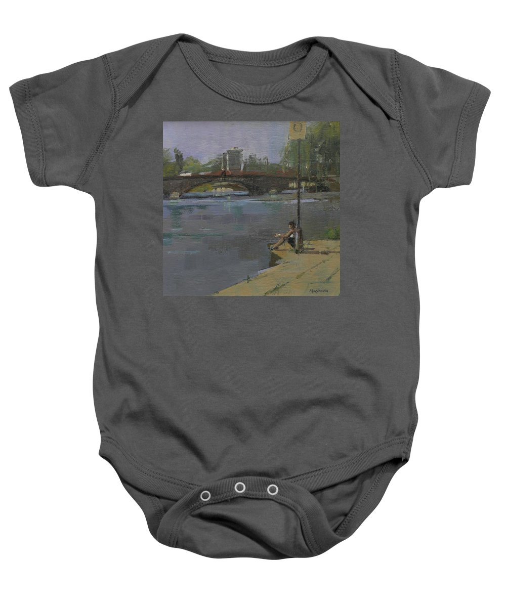 River Thames Baby Onesie featuring the photograph Kew Bridge, 2009 Oil On Canvas by Pat Maclaurin