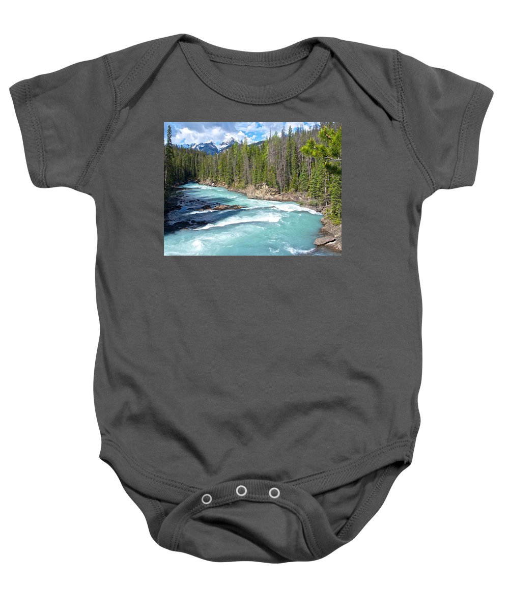Kicking Horse River In Yoho Np Baby Onesie featuring the photograph Kicking Horse River In Yoho Np-bc by Ruth Hager