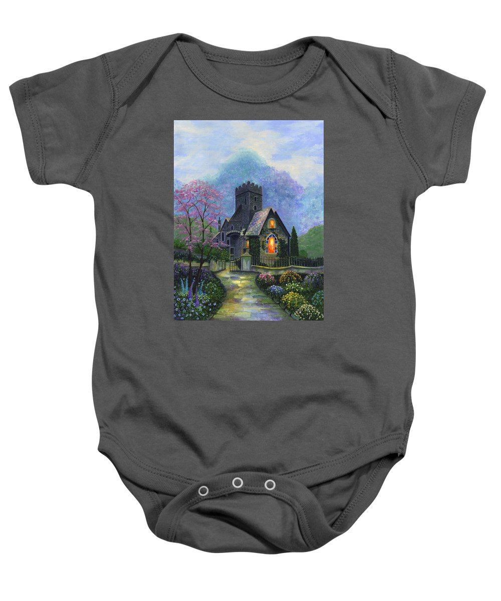 Church Baby Onesie featuring the painting King's Garden by Bonnie Cook