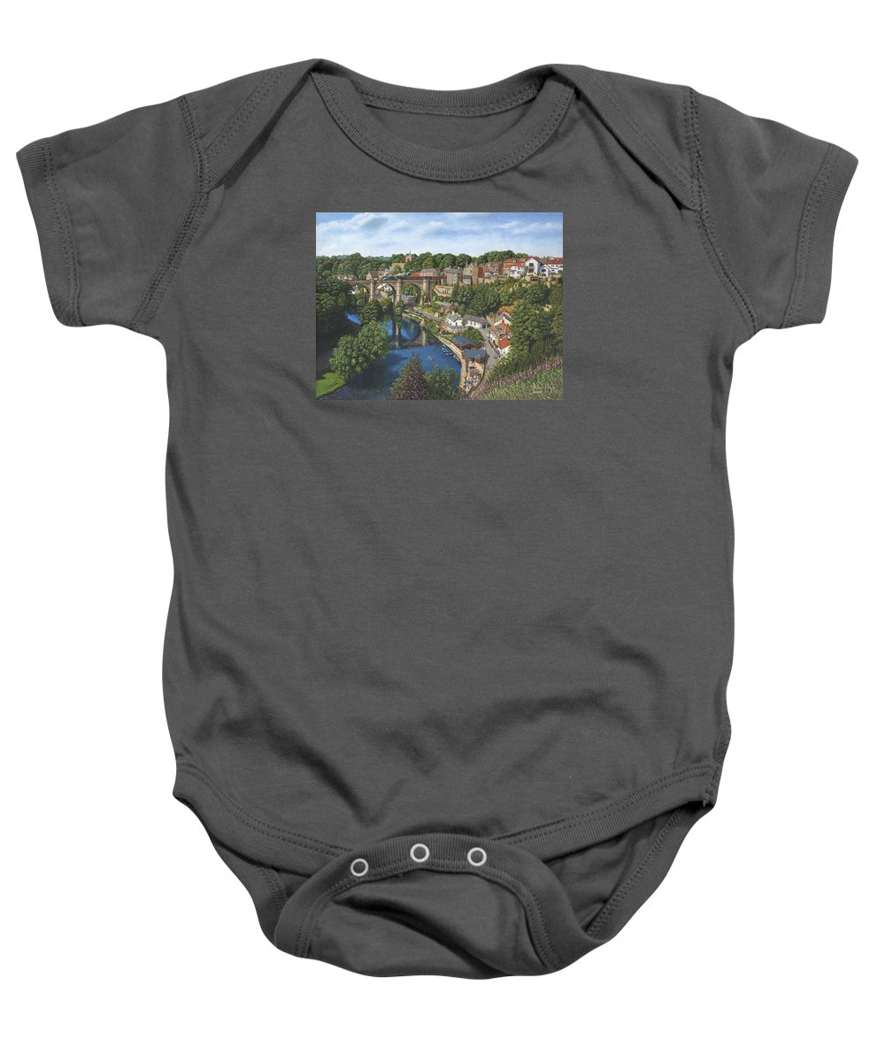 Landscape Baby Onesie featuring the painting Knaresborough Yorkshire by Richard Harpum