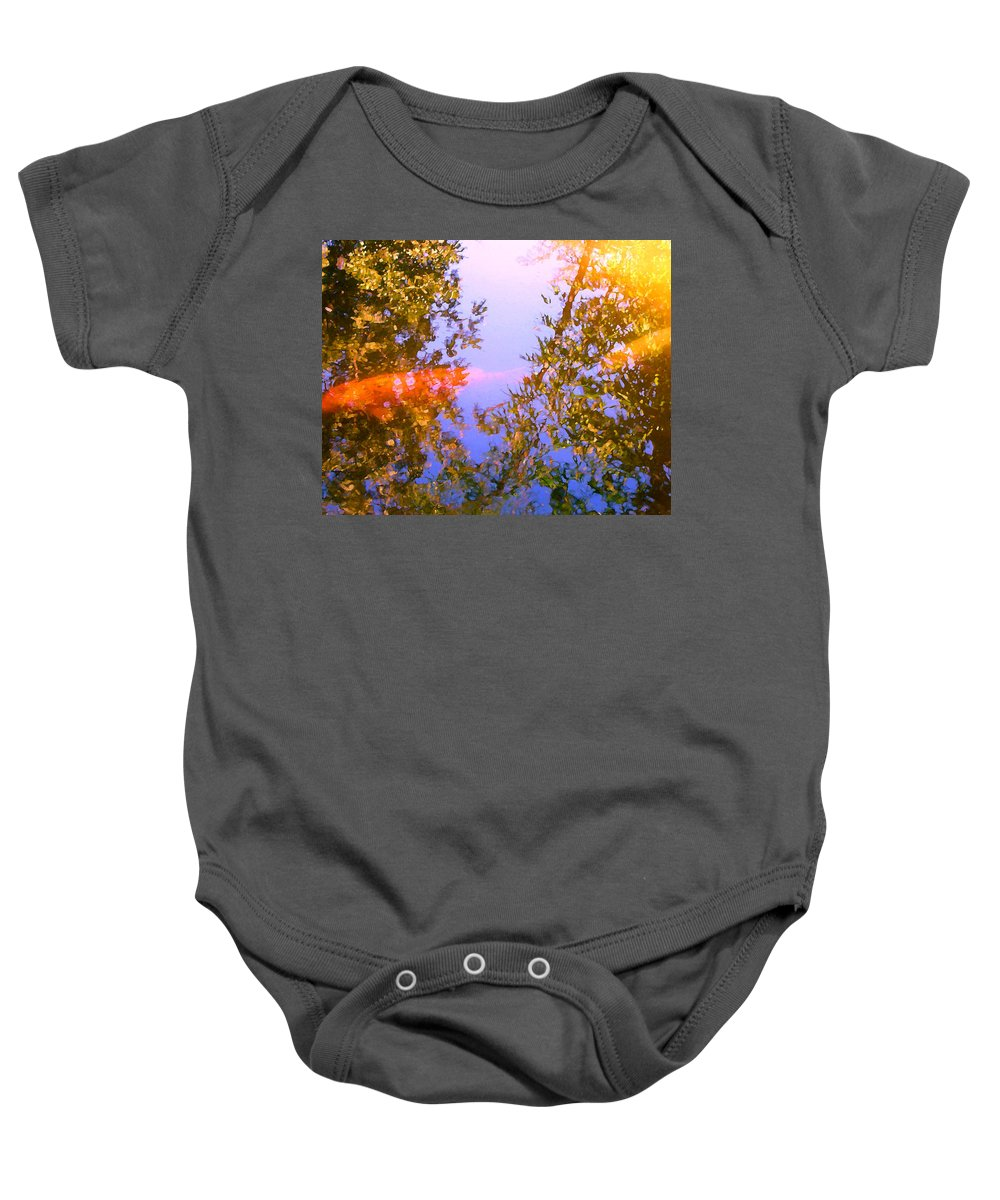 Animal Baby Onesie featuring the painting Koi Fish 4 by Amy Vangsgard