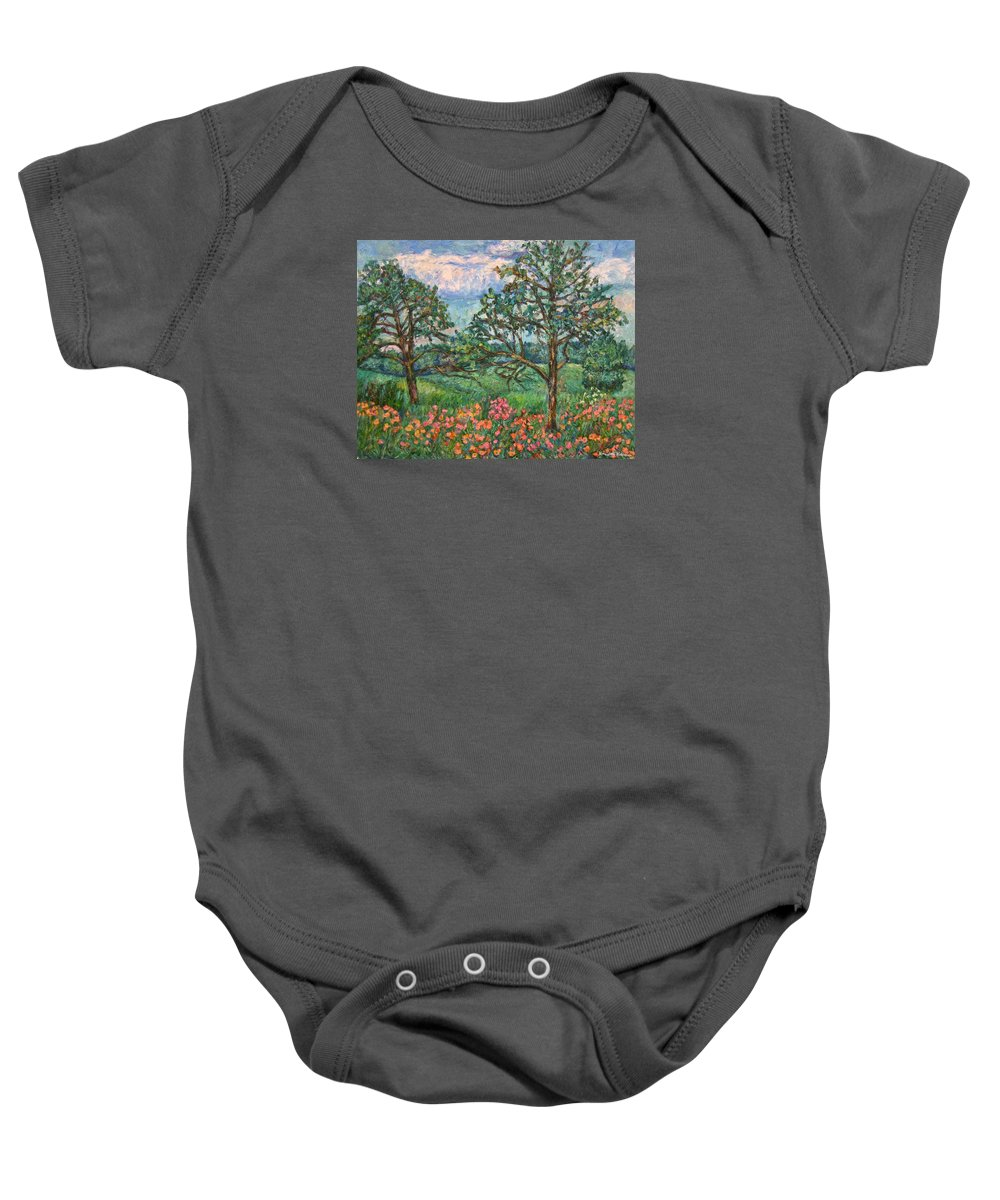 Landscape Baby Onesie featuring the painting Kraft Avenue In Blacksburg by Kendall Kessler