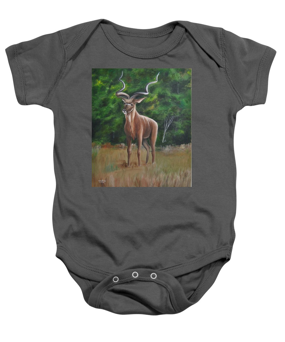 Kudu Baby Onesie featuring the painting Kudu by Glen Frear