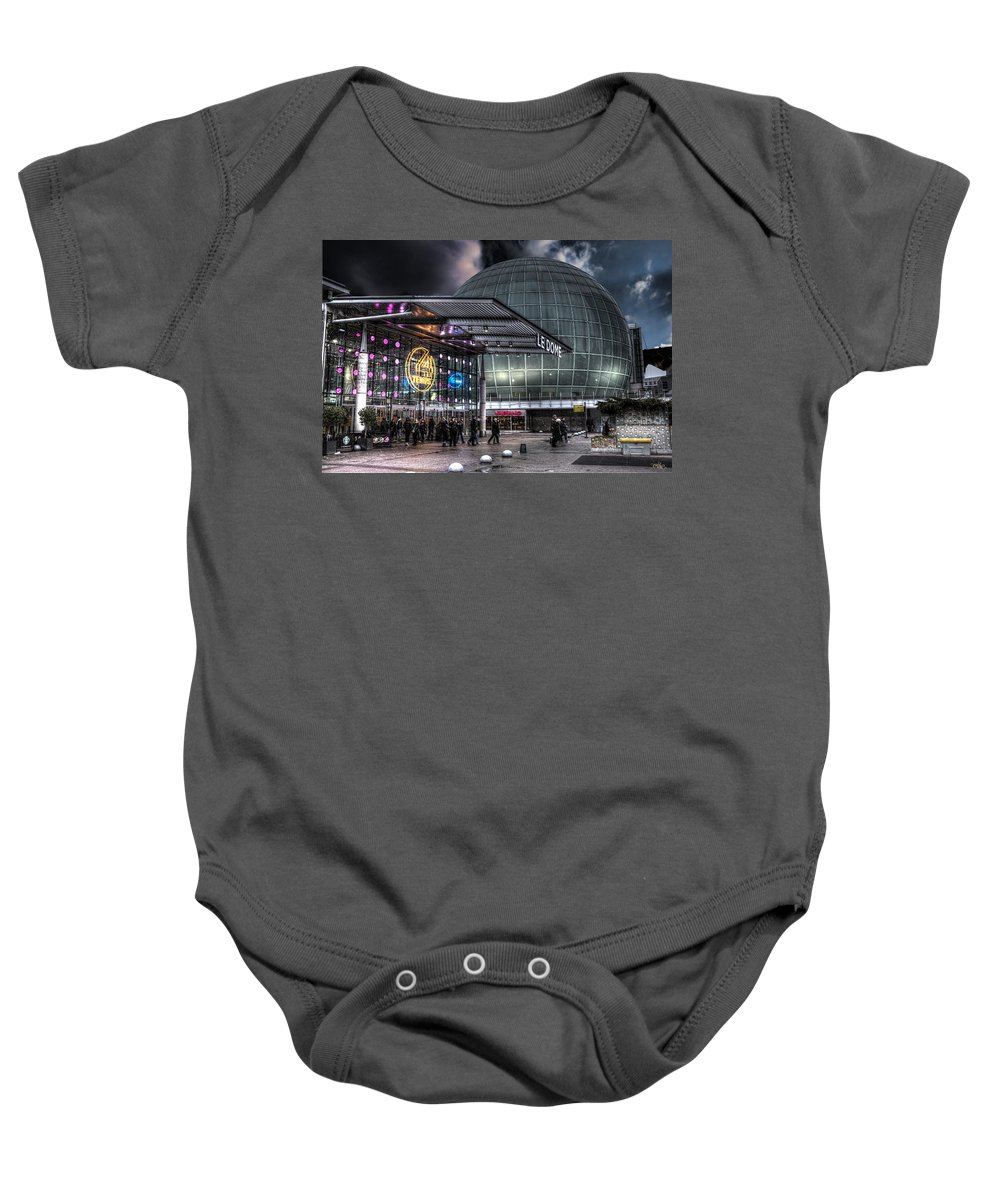 Arch Baby Onesie featuring the photograph La Defense Paris by Evie Carrier