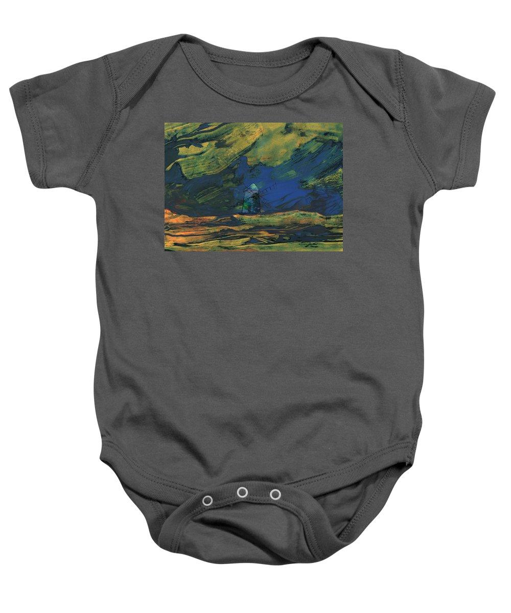 Travel Baby Onesie featuring the painting La Mancha De Noche by Miki De Goodaboom