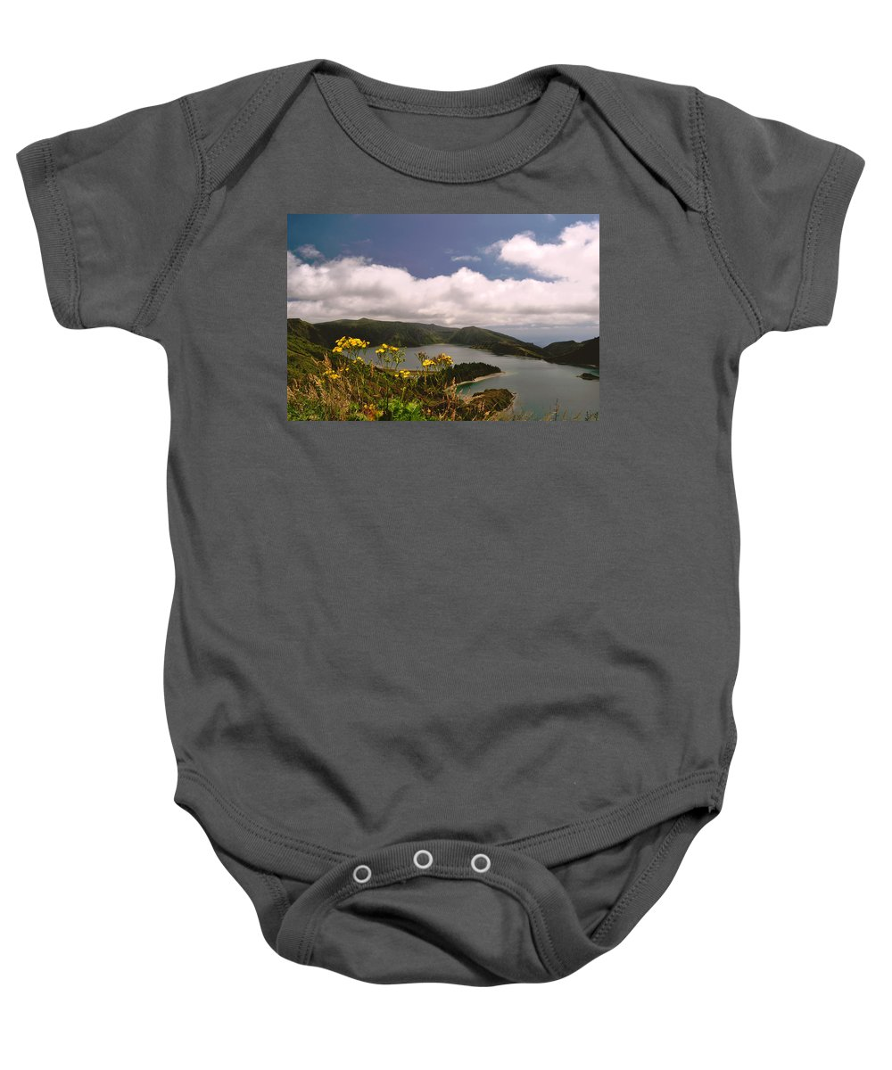 Acores Baby Onesie featuring the photograph Fire Lake by M Bernardo