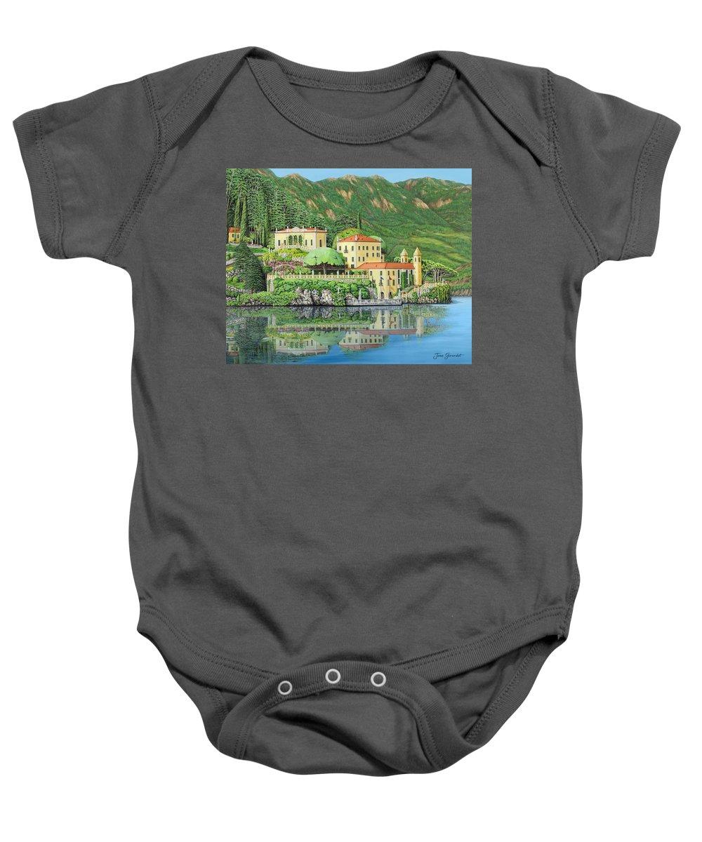Lake Baby Onesie featuring the painting Lake Como Morning by Jane Girardot
