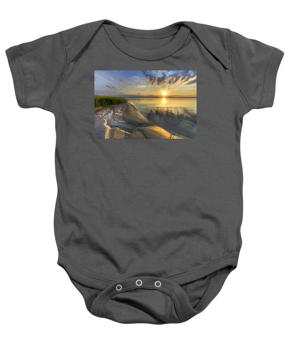 Clouds Baby Onesie featuring the photograph Lake Glow by Debra and Dave Vanderlaan