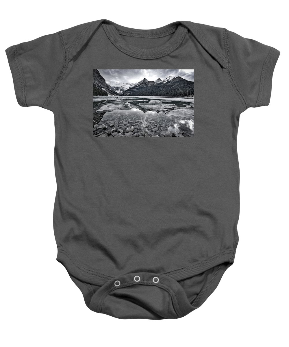 Lake Louise Baby Onesie featuring the photograph Lake Louise - Black And White #2 by Stuart Litoff