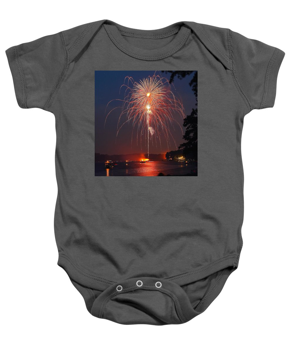Fireworks Baby Onesie featuring the photograph Lake Of Fire by Ken Kobe