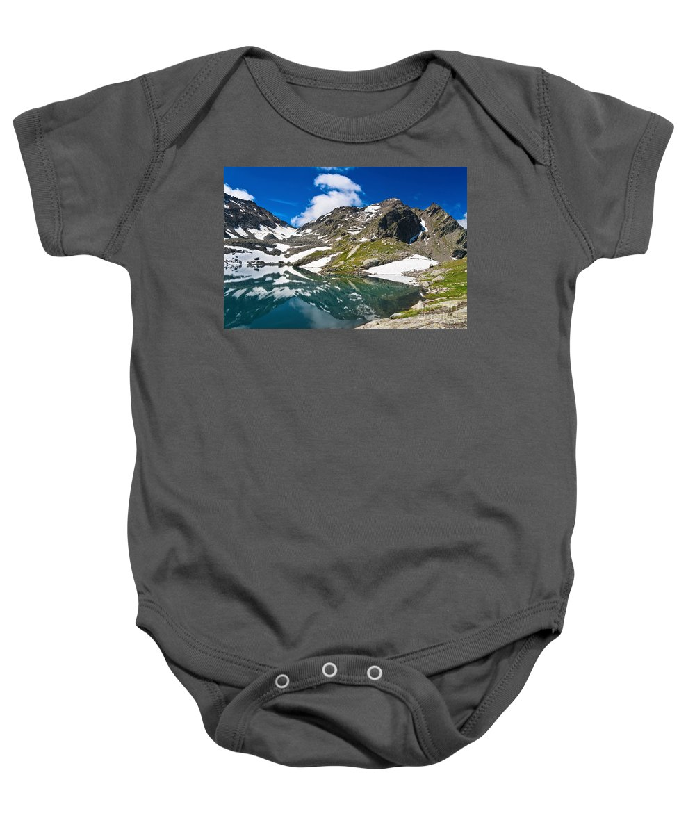 Alps Baby Onesie featuring the photograph lake Pietra Rossa - Italy by Antonio Scarpi