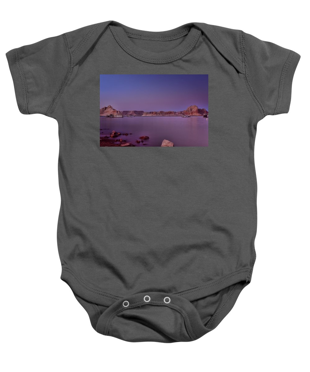Sunset Baby Onesie featuring the photograph Lake Powell Sunset by Ellen Heaverlo