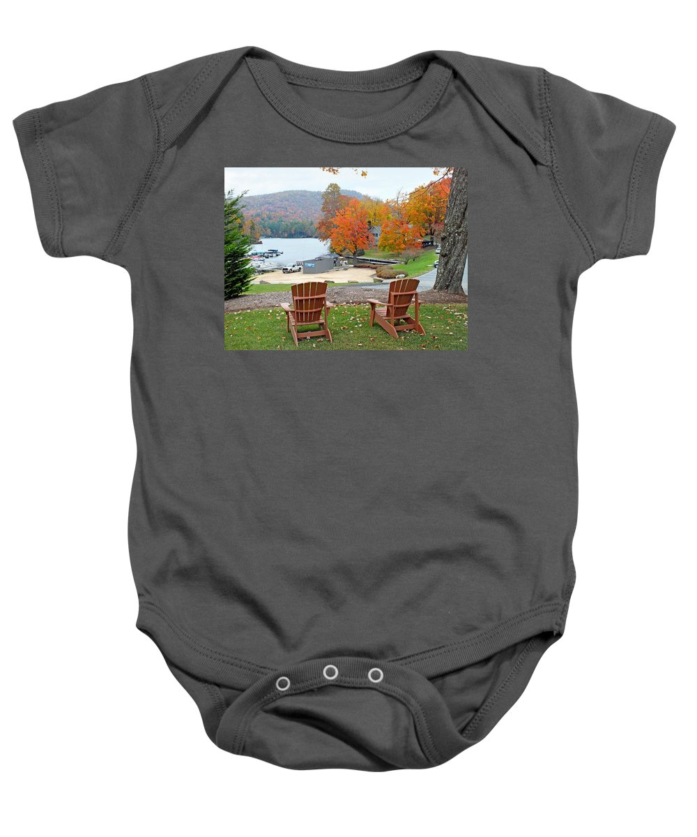 Duane Mccullough Baby Onesie featuring the photograph Lake Toxaway Marina In The Fall by Duane McCullough
