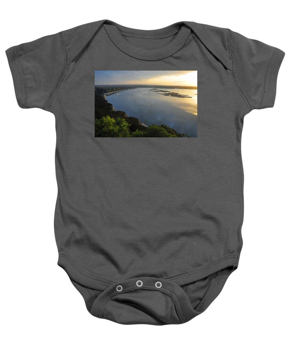 Texas Baby Onesie featuring the photograph Lake Travis Sunset by Lynn Bauer