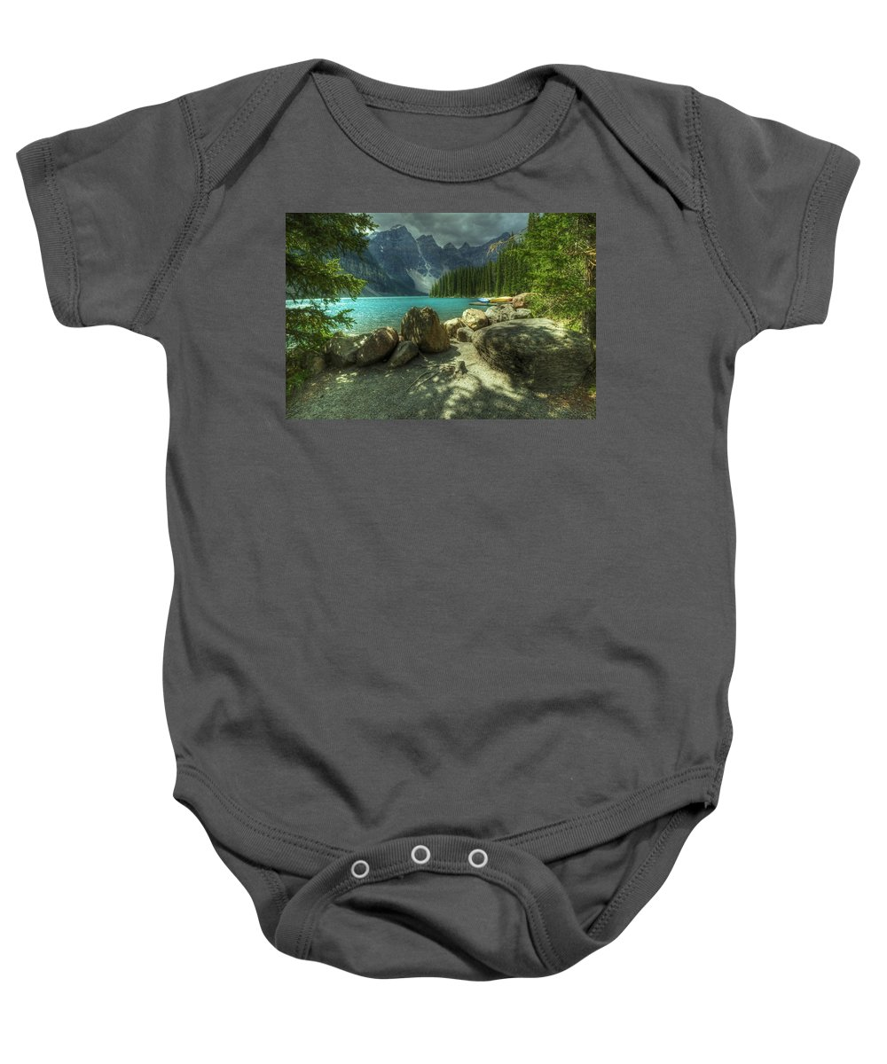 Alberta Baby Onesie featuring the digital art Lake View by Diane Dugas