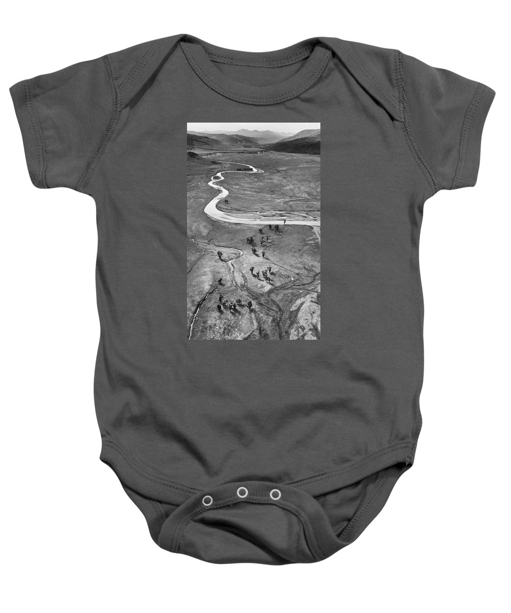 North America Baby Onesie featuring the photograph Lamar Valley Black And White by Max Waugh