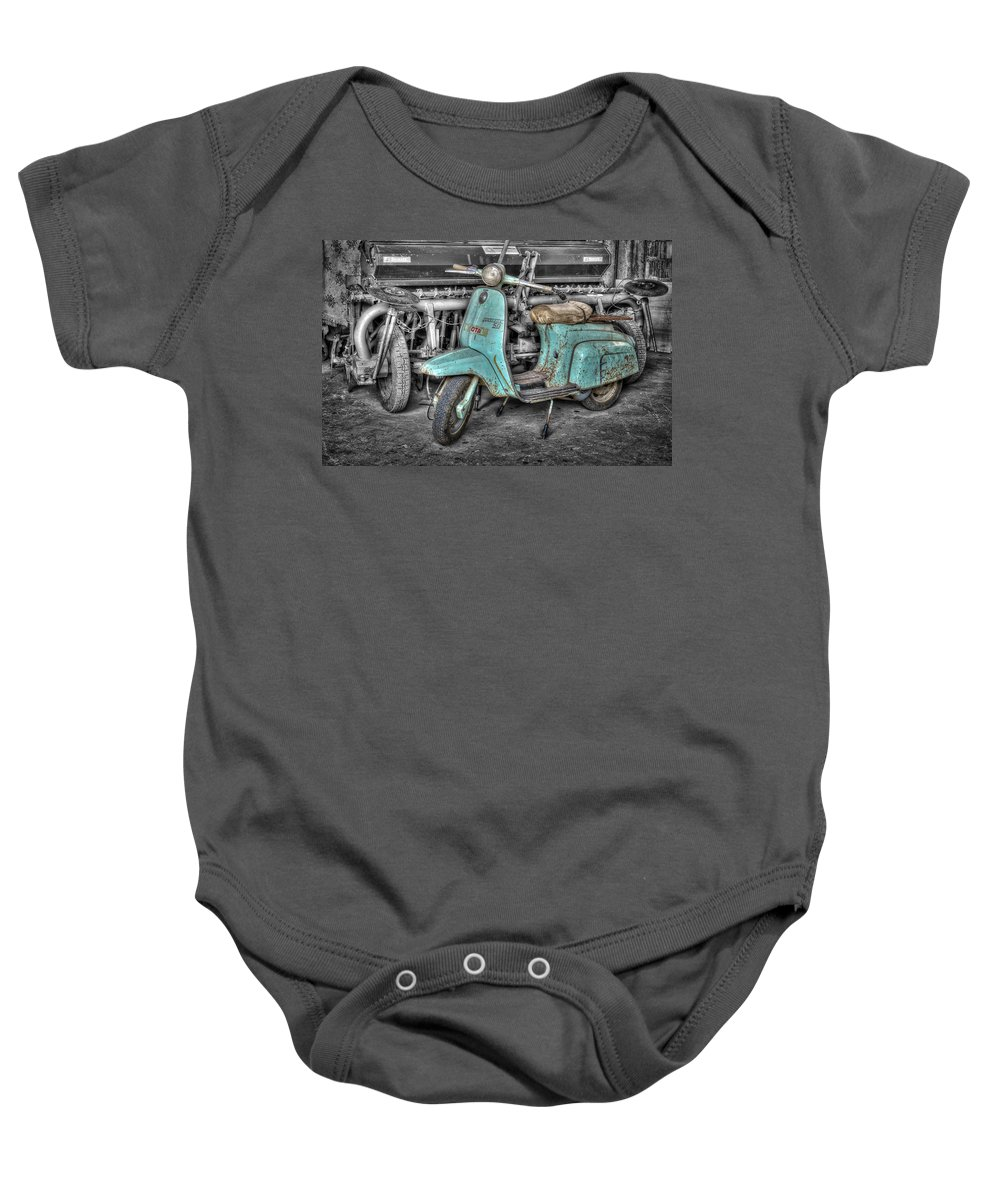 Transportation Baby Onesie featuring the pyrography Lambretta by Mauro Celotti