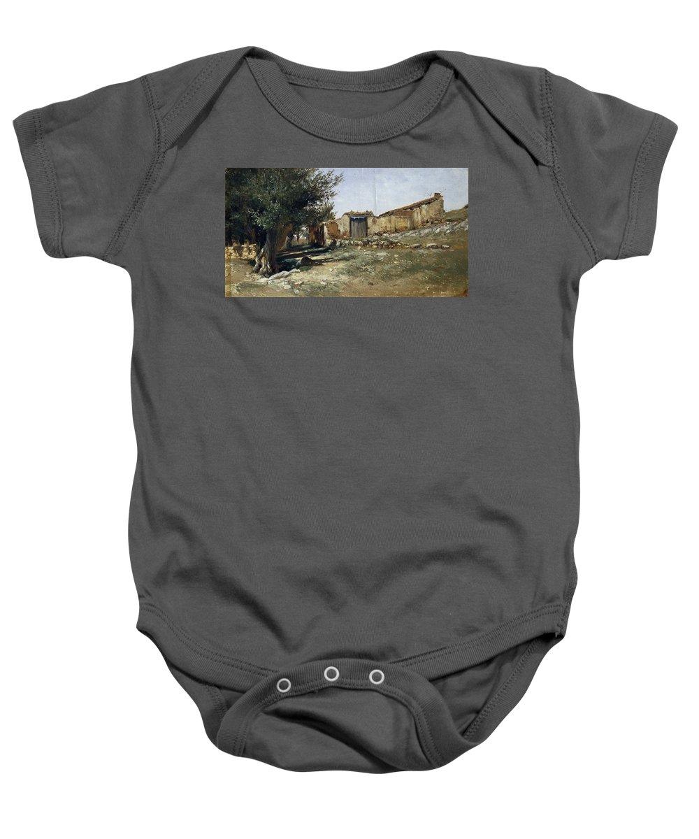 Carlos De Haes Baby Onesie featuring the painting Landscape In Aragon by Carlos de Haes