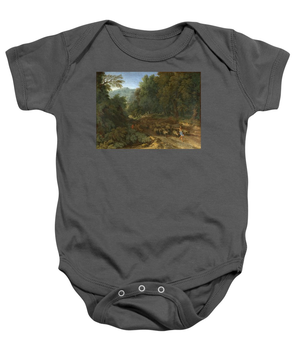 Gaspard Dughet Baby Onesie featuring the painting Landscape With A Shepherd And His Flock by Gaspard Dughet