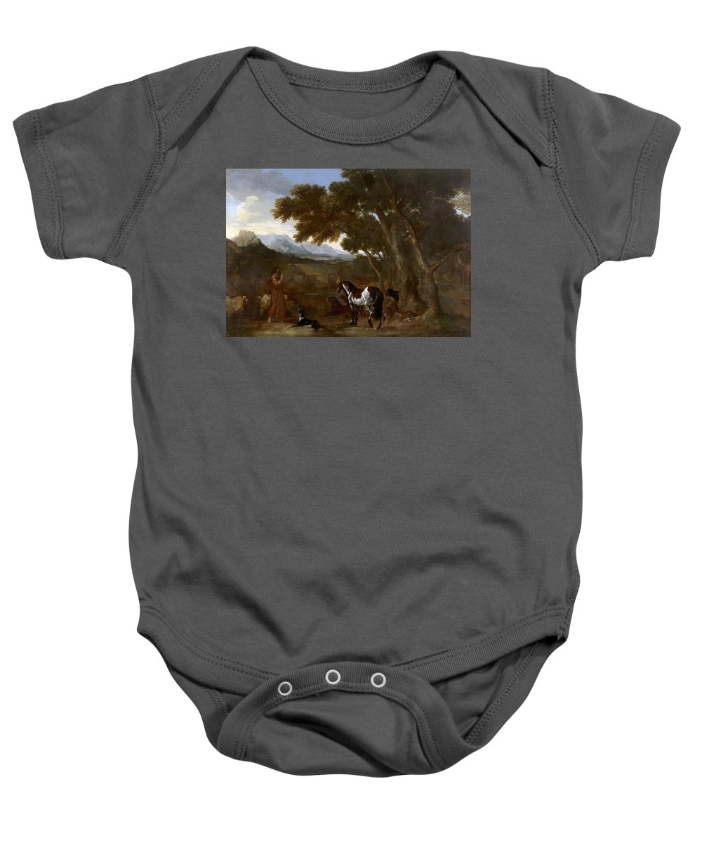 Gaspard Dughet Baby Onesie featuring the painting Landscape With Hermit Preaching To Animals by Gaspard Dughet