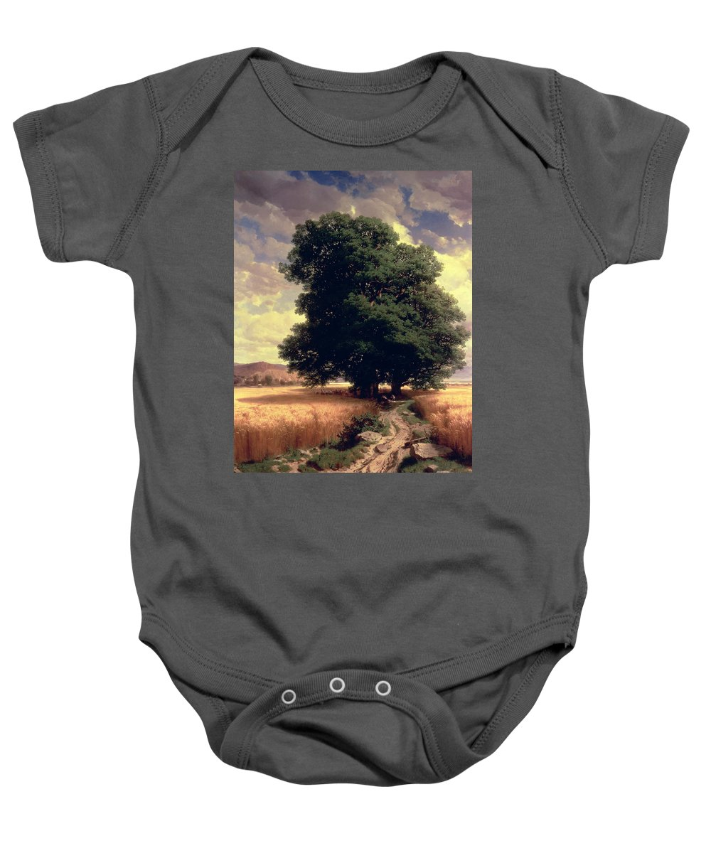 Trees Baby Onesie featuring the painting Landscape With Oaks by Alexandre Calame