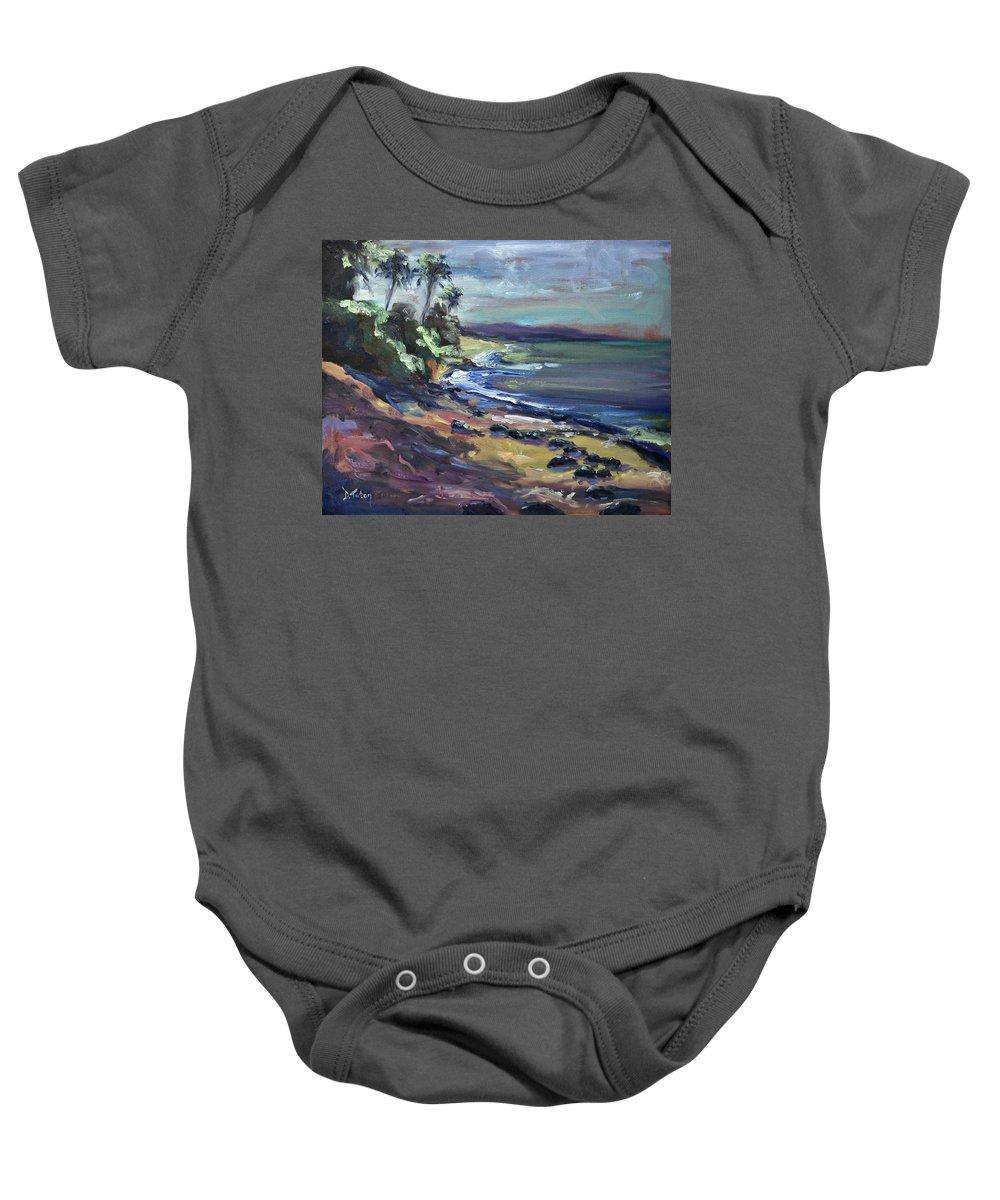 Laniakea Baby Onesie featuring the painting Laniakea by Donna Tuten