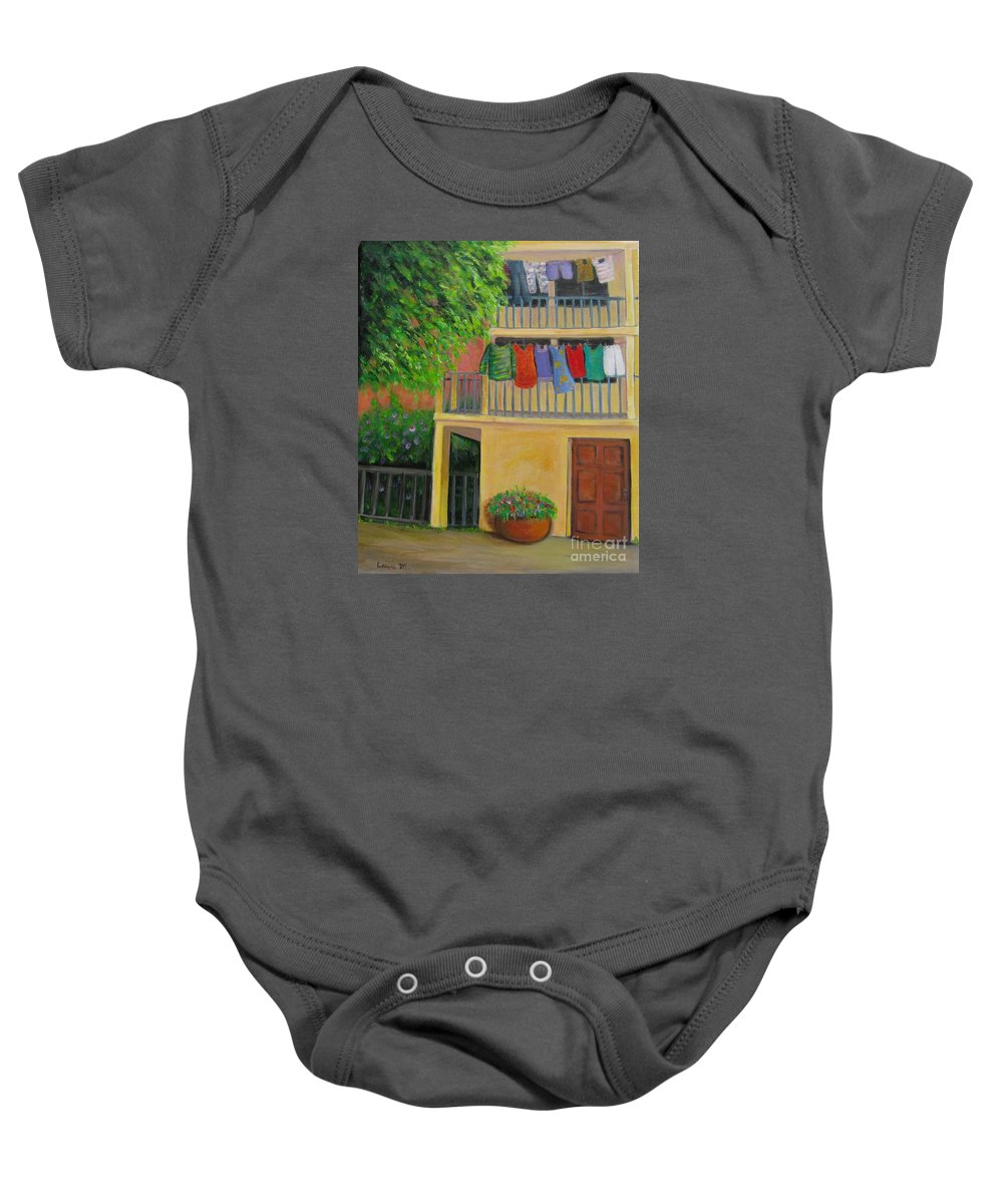 Laundry Baby Onesie featuring the painting Laundry Day by Laurie Morgan