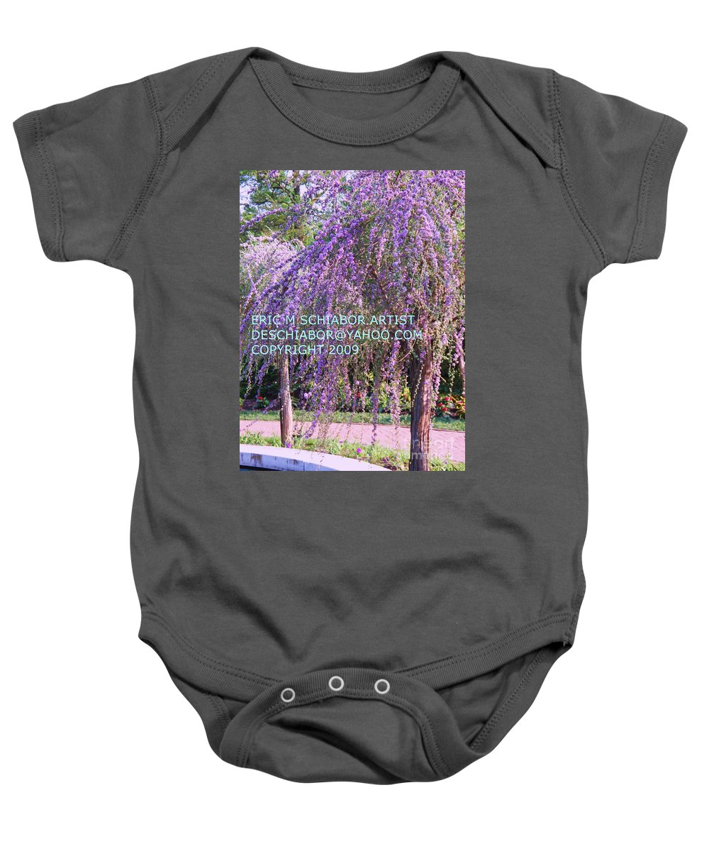 Butterfly Bush Baby Onesie featuring the photograph Lavender Butterfly Bush by Eric Schiabor