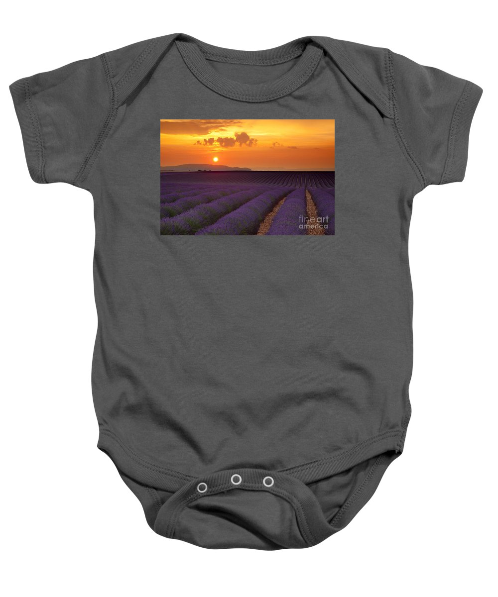 Lavender Baby Onesie featuring the photograph Lavender Sunset by Brian Jannsen
