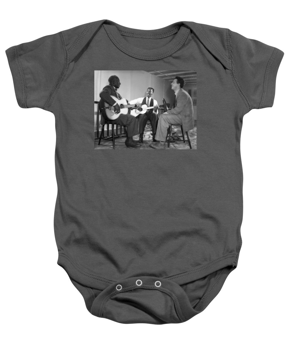 1940 Baby Onesie featuring the photograph Leadbelly, Josh White, Nicholas Ray by Underwood Archives