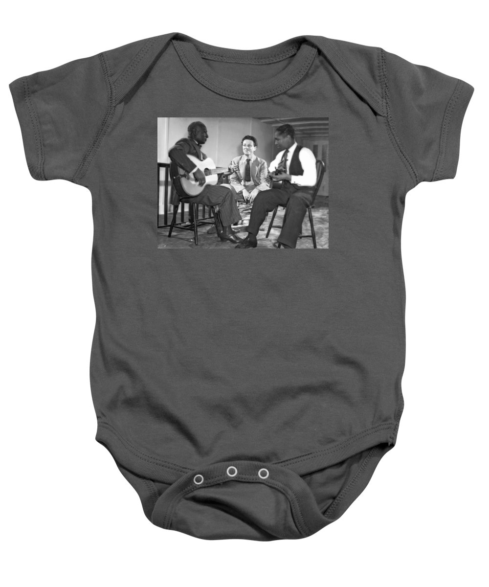 1940 Baby Onesie featuring the photograph Leadbelly, Nicholas Ray, Josh White by Underwood Archives